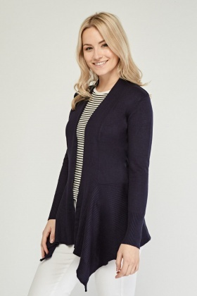 Contrasted Ribbed Hem Cardigan