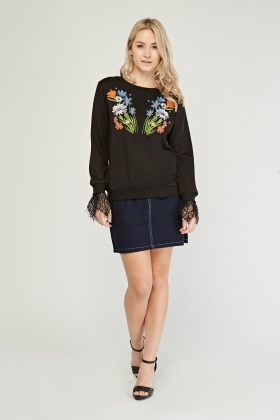 Embroidered Lace Detail Sweatshirt