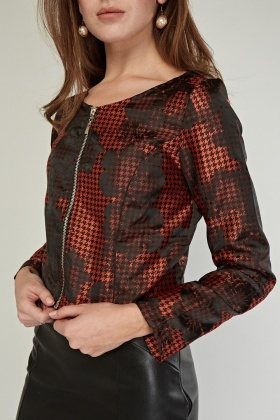 Faded Floral Houndstooth Jacket