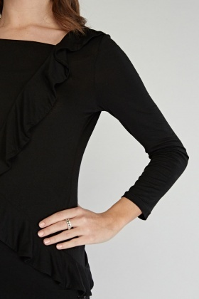 Frilled Side Long Sleeve Top
