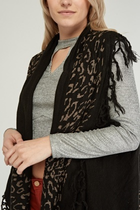 Leopard Printed Sleeveless Cardigan