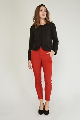 Open Front Pockets Textured Jacket