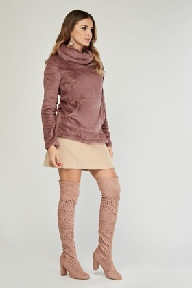 Polar Fleece Slouchy Neck Pullover