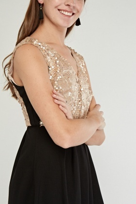 Sequin Embellished Contrast Mini Dress
