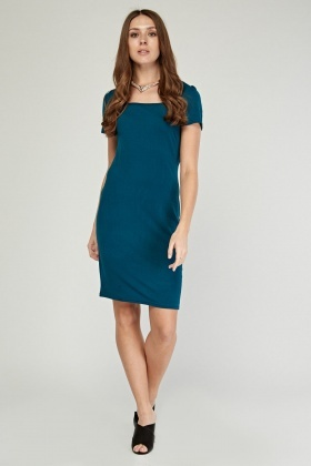 Square Neck Midi Bodycon Dress