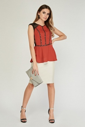 Studded Contrasted Peplum Top