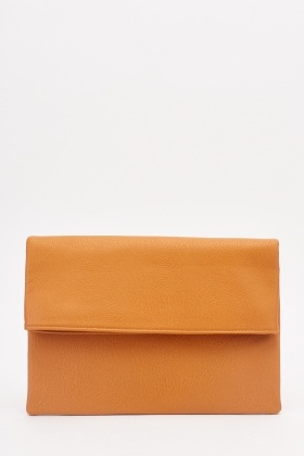 Textured Flap Tan Clutch Bag