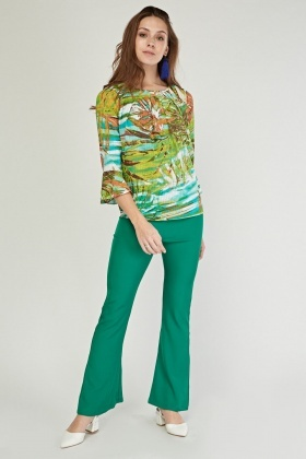 Tropical Palm Printed Blouse
