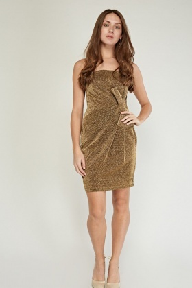 Bow Detailed Metallic Mini Dress