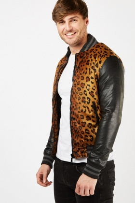 Cheetah Pattern Quilted Bomber Jacket