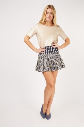 Contrasted Mini Skirt