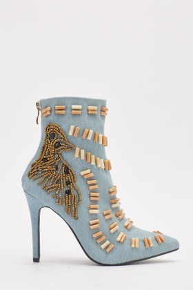 Denim Front Detail Heeled Boots