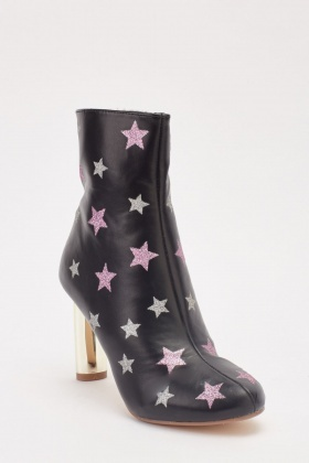 Faux Leather Glittery Star Print Heeled Boots