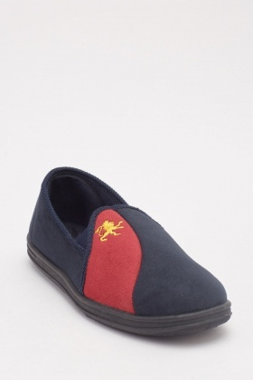 Men's Embroidered Front Slippers