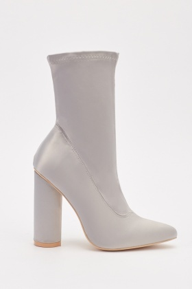 Pointed Ankle High Sateen Boots