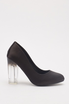 Sateen Transparent Heeled Shoes