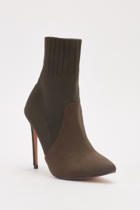Suedette Contrast Socket Ankle Boots