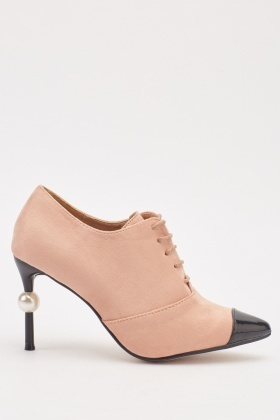 Suedette Contrasted Lace Up Heeled Shoes
