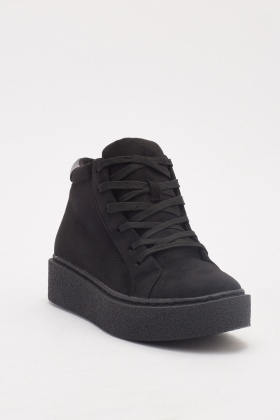 Suedette Lace Up High Top Trainers