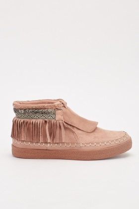 Suedette Tassel Lace Up Shoes