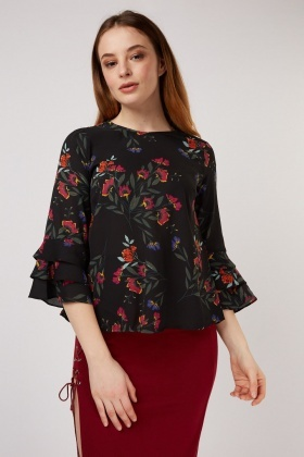 Bell Sleeve Floral Print Blouse