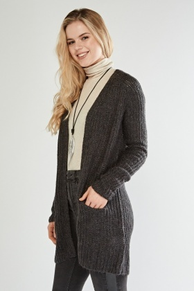 Casual Open Front Knit Cardigan
