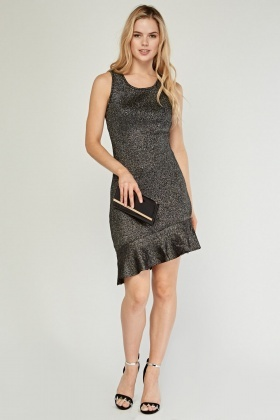 Metallic Asymmetric Flared Hem Dress