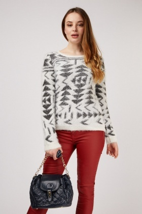 Mixed Pattern Eyelash Knit Jumper