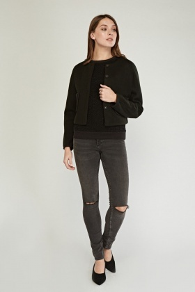 Textured Long Sleeve Cropped Jacket