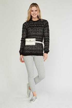 Aztec Pattern Eyelash Knit Jumper