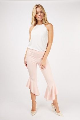 Cropped Frill Hem Trousers