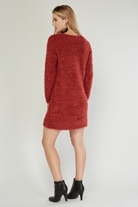 high quality guarantee special selection of shop for luxury Long Sleeve Eyelash Knit Jumper Dress