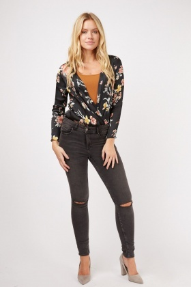 Low Plunge Floral Bodysuit