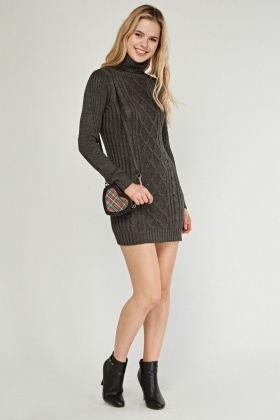 Metallic Thread High Neck Jumper Dress
