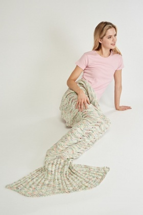 Perforated Loose Knit Mermaid Tail Blanket