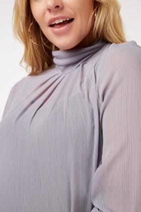Sheer High Neck Blouse