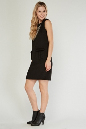Sleeveless Pocket Flap Front Mini Dress