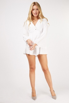 Tie Up Ruffle Hem Playsuit