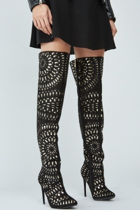 Black Metallic Laser Cut Over The Knee Boots