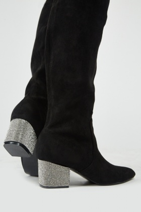 Encrusted Heel Knee High Boots