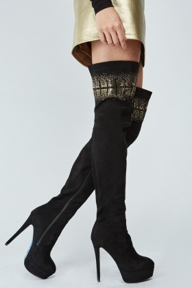 Encrusted Suedette Over The Knee Boots
