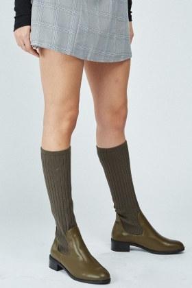 Faux Leather Sock Boots