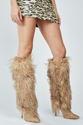 Fluffy Overlay Knee High Boots