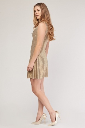 Metallic Cowl Neck Skater Dress