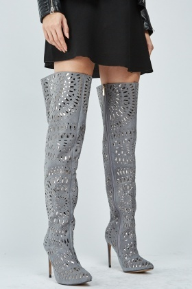 Metallic Laser Cut Thigh High Boots