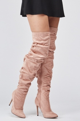 Pink Ruched Over The Knee Boots