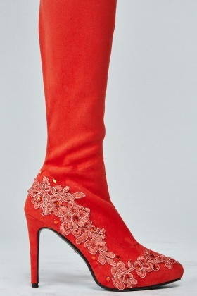 Red Embroidered Suedette Knee High Boots