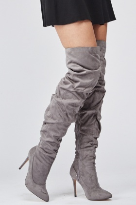 Ruched Over The Knee High Heel Boots