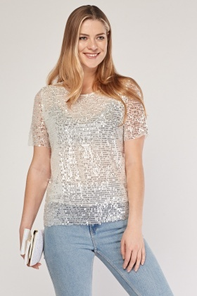 Sequin Mesh Overlay Top