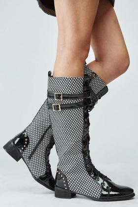 Star Print Studded Lace Up Boots